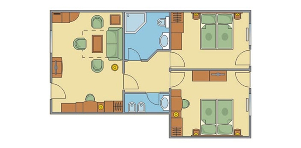 Tornácos lakosztály 4 (+3) ágyas